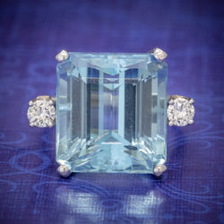 ART DECO AQUAMARINE RING 18CT WHITE GOLD 17.5CT AQUA CIRCA 1920 COVER