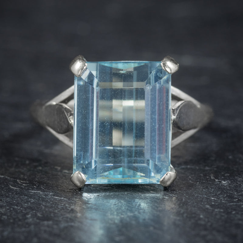 Art Deco Aquamarine Ring 18ct White Gold Circa 1930 FRONT