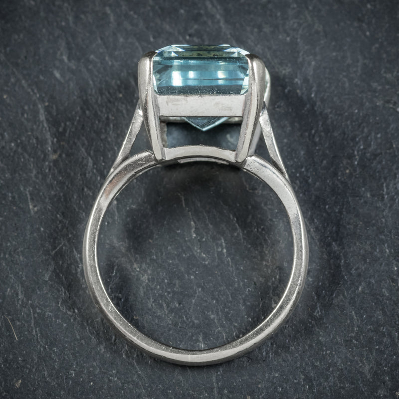 Art Deco Aquamarine Ring 18ct White Gold Circa 1930 TOP