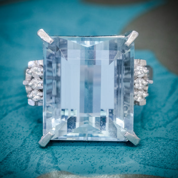 ART DECO AQUAMARINE RING PLATINUM 14.88CT AQUA CIRCA 1930 COVER