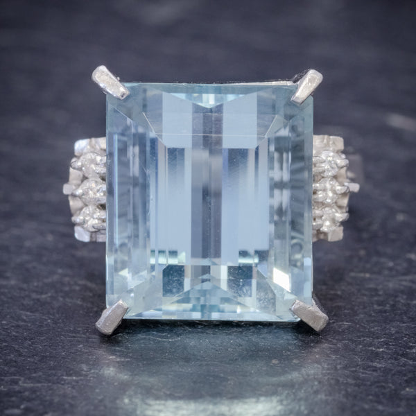 ART DECO AQUAMARINE RING PLATINUM 14.88CT AQUA CIRCA 1930 FRONT