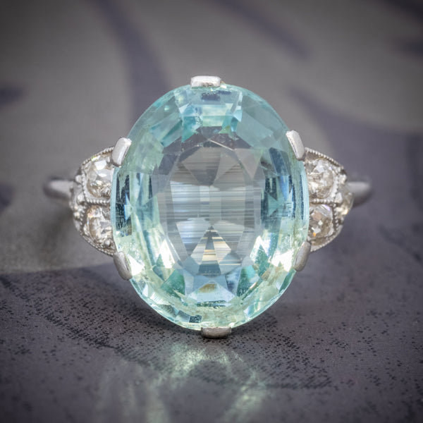 ART DECO AQUAMARINE RING PLATINUM 6CT AQUA CIRCA 1920 COVER