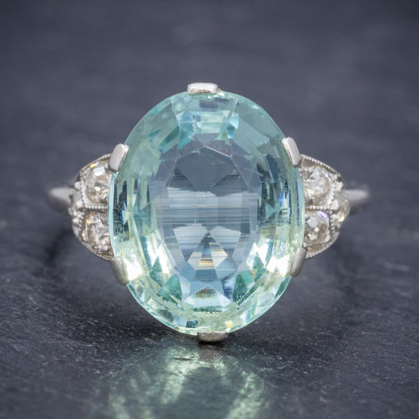 ART DECO AQUAMARINE RING PLATINUM 6CT AQUA CIRCA 1920 FRONT