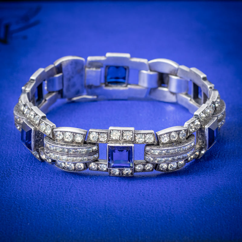 Art Deco Blue Paste Bracelet Silver Circa 1920 COVER