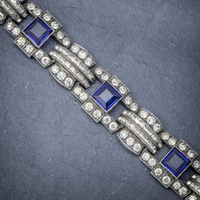 Art Deco Blue Paste Bracelet Silver Circa 1920 LINKS