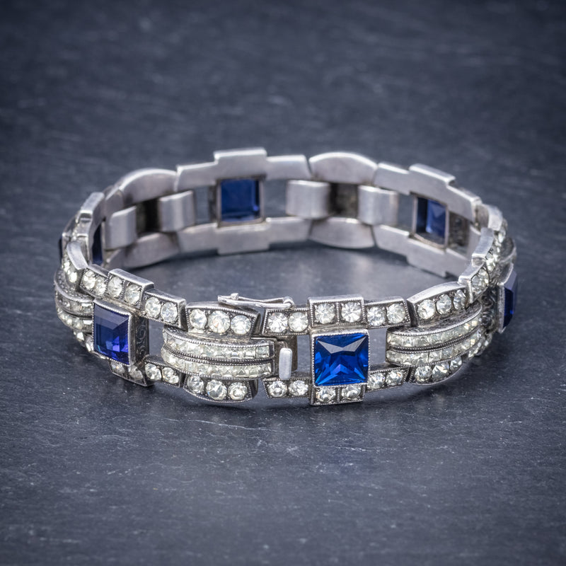 Art Deco Blue Paste Bracelet Silver Circa 1920 SIDE