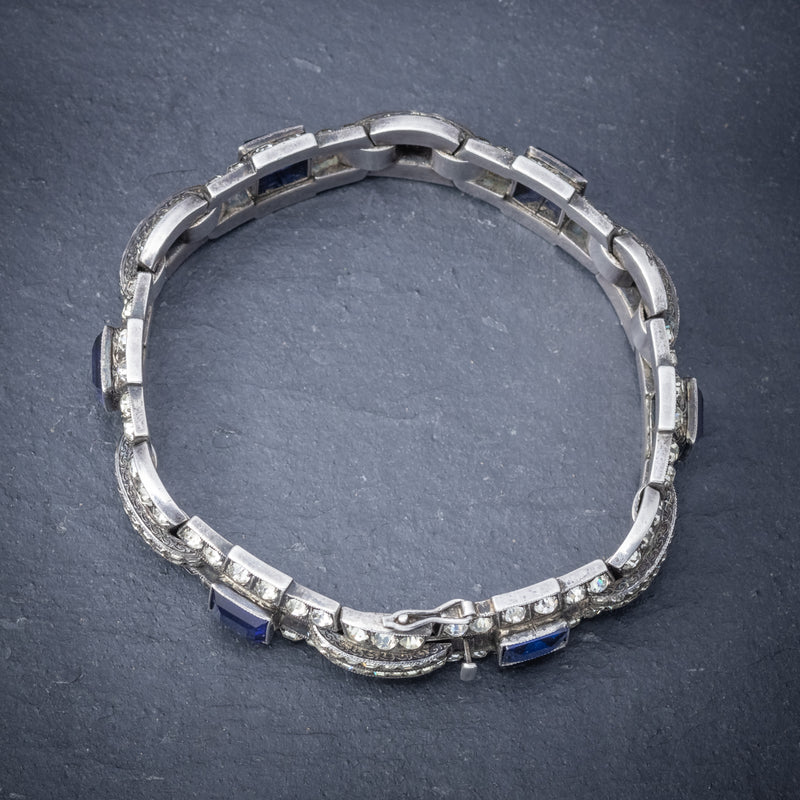 Art Deco Blue Paste Bracelet Silver Circa 1920 TOP