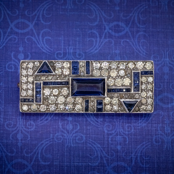 ART DECO BLUE PASTE BROOCH STERLING SILVER CIRCA 1930 COVER