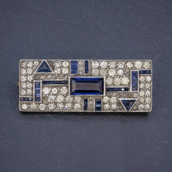 ART DECO BLUE PASTE BROOCH STERLING SILVER CIRCA 1930 FRONT