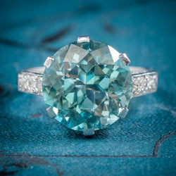 ART DECO BLUE ZIRCON RING 18CT WHITE GOLD 5CT ZIRCON CIRCA 1920 cover