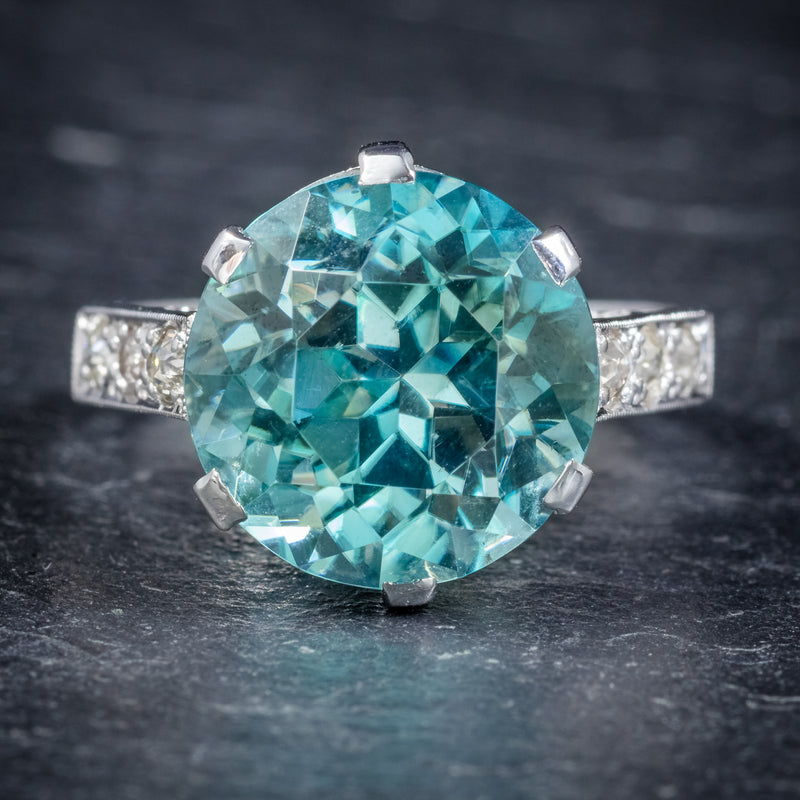 Art Deco Blue Zircon Ring 18ct White Gold 5ct Zircon Circa 1920 front