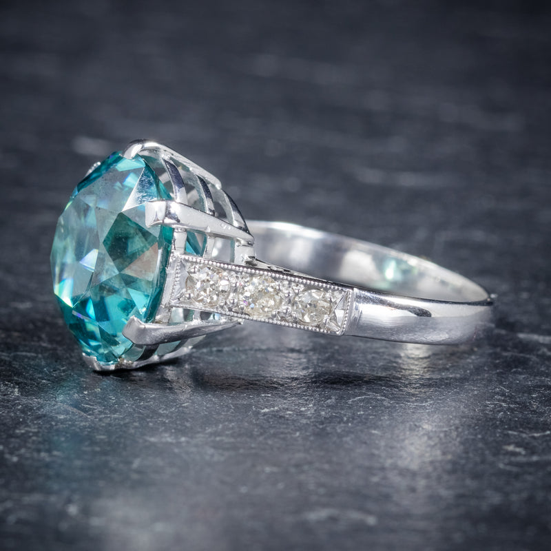Art Deco Blue Zircon Ring 18ct White Gold 5ct Zircon Circa 1920 side1