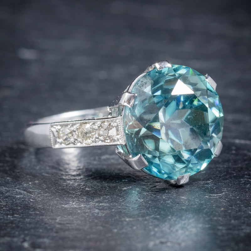 Art Deco Blue Zircon Ring 18ct White Gold 5ct Zircon Circa 1920 side2