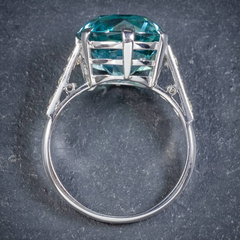 Art Deco Blue Zircon Ring 18ct White Gold 5ct Zircon Circa 1920 top