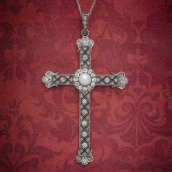 Art Deco Diamond Cross Pendant Necklace Platinum Circa 1930 COVER