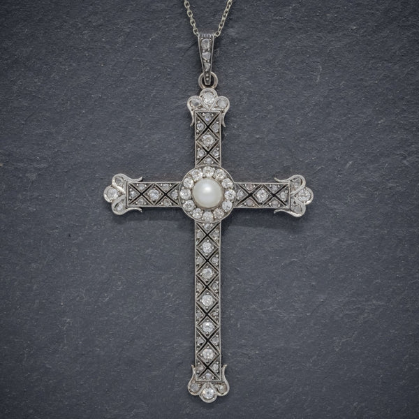 Art Deco Diamond Cross Pendant Necklace Platinum Circa 1930 FRONT