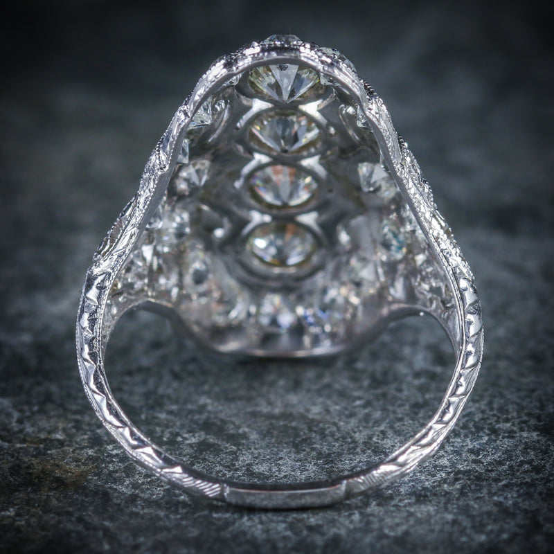 ART DECO DIAMOND RING PLATINUM CIRCA 1920 BACK
