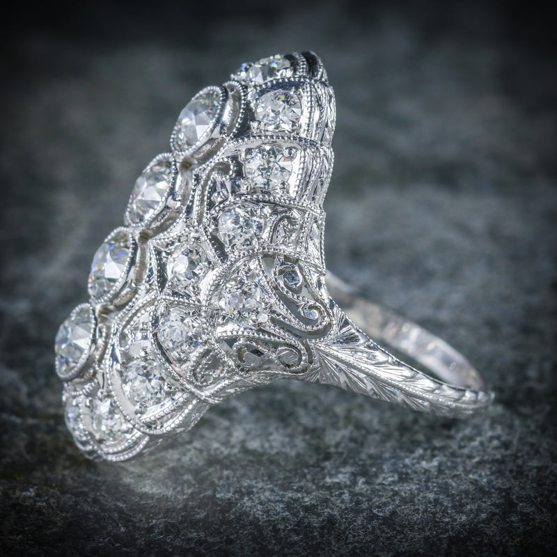 ART DECO DIAMOND RING PLATINUM CIRCA 1920 SIDE