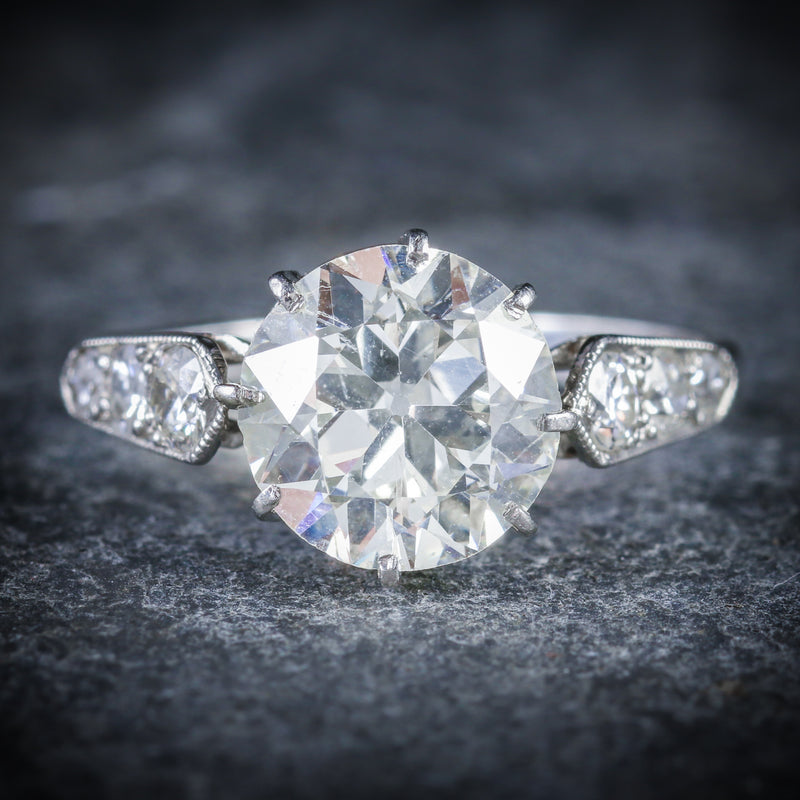 ART DECO DIAMOND SOLITAIRE RING PLATINUM ENGAGEMENT RING CIRCA 1920 FRONT