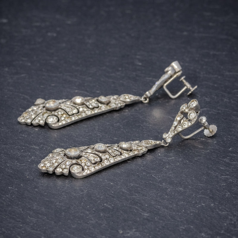 ART DECO DROP EARRINGS PASTE STONE CIRCA 1920 SIDE