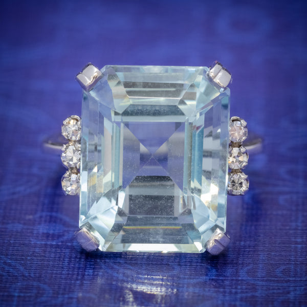 ART DECO EMERALD CUT AQUAMARINE RING 18CT GOLD 7CT AQUA CIRCA 1930 COVER