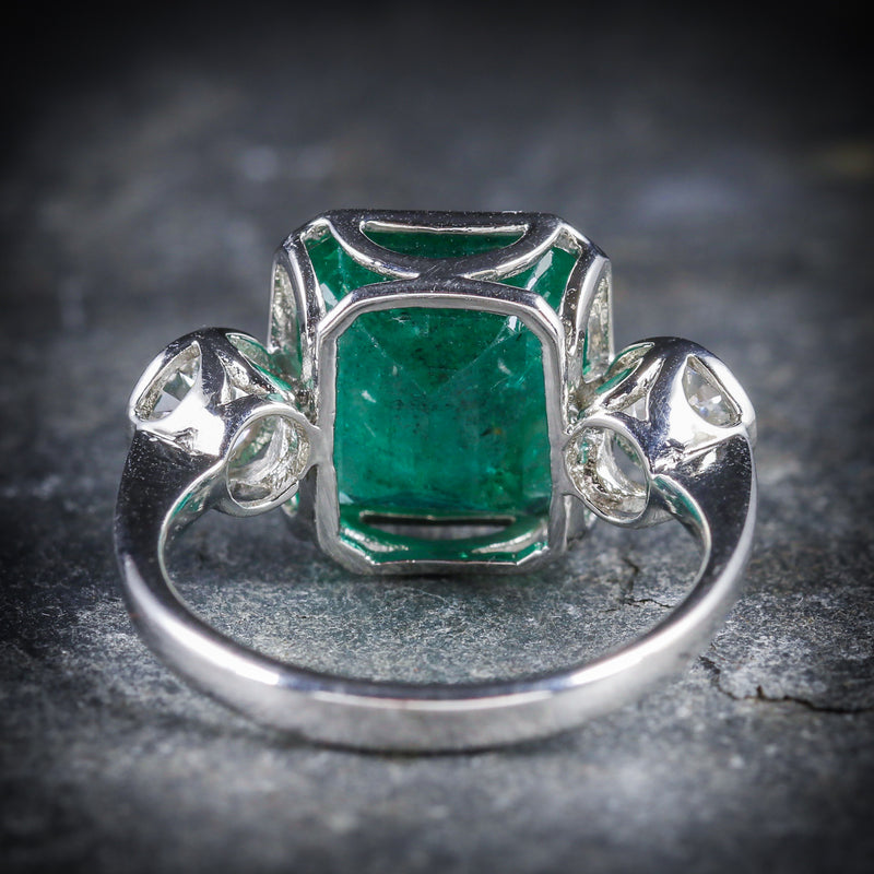 ART DECO EMERALD DIAMOND PLATINUM RING 8CT EMERALD 1.20CT DIAMOND BACK