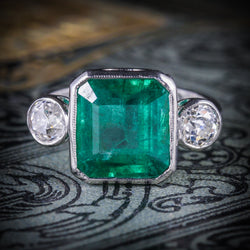 ART DECO EMERALD DIAMOND PLATINUM RING 8CT EMERALD 1.20CT DIAMOND COVER