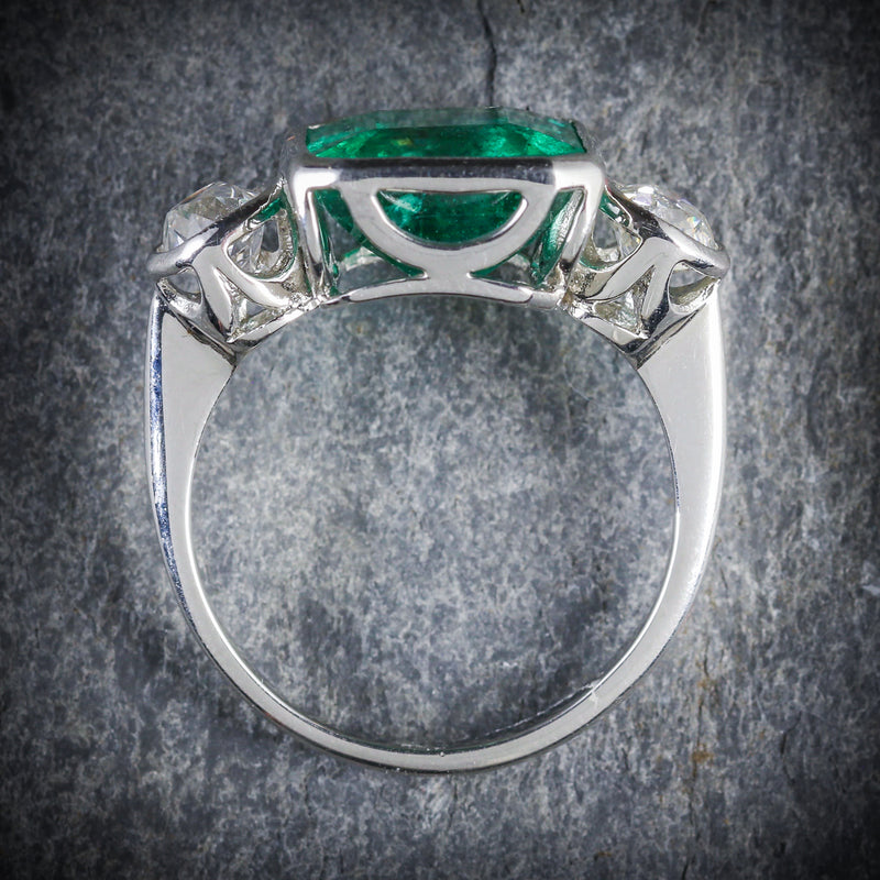 ART DECO EMERALD DIAMOND PLATINUM RING 8CT EMERALD 1.20CT DIAMOND TOP