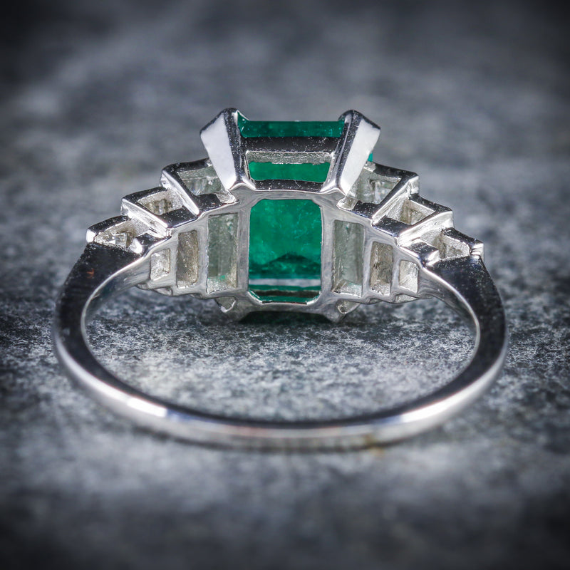 ART DECO EMERALD DIAMOND RING 18CT WHITE GOLD CIRCA 1920 BACK