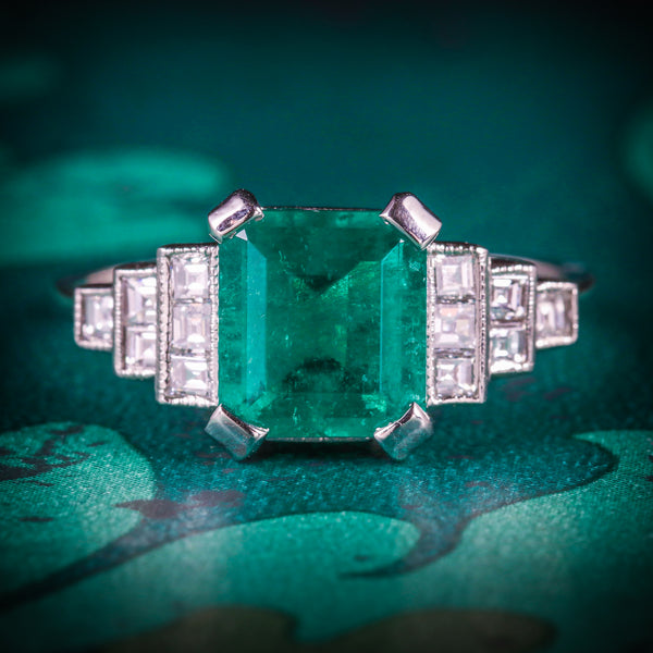 ART DECO EMERALD DIAMOND RING 18CT WHITE GOLD CIRCA 1920 COVER
