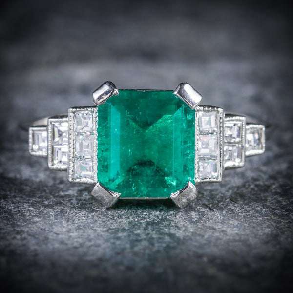 ART DECO EMERALD DIAMOND RING 18CT WHITE GOLD CIRCA 1920 FRONT