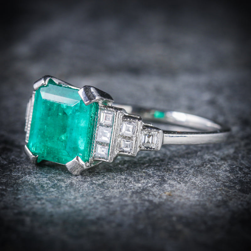 ART DECO EMERALD DIAMOND RING 18CT WHITE GOLD CIRCA 1920 SIDE