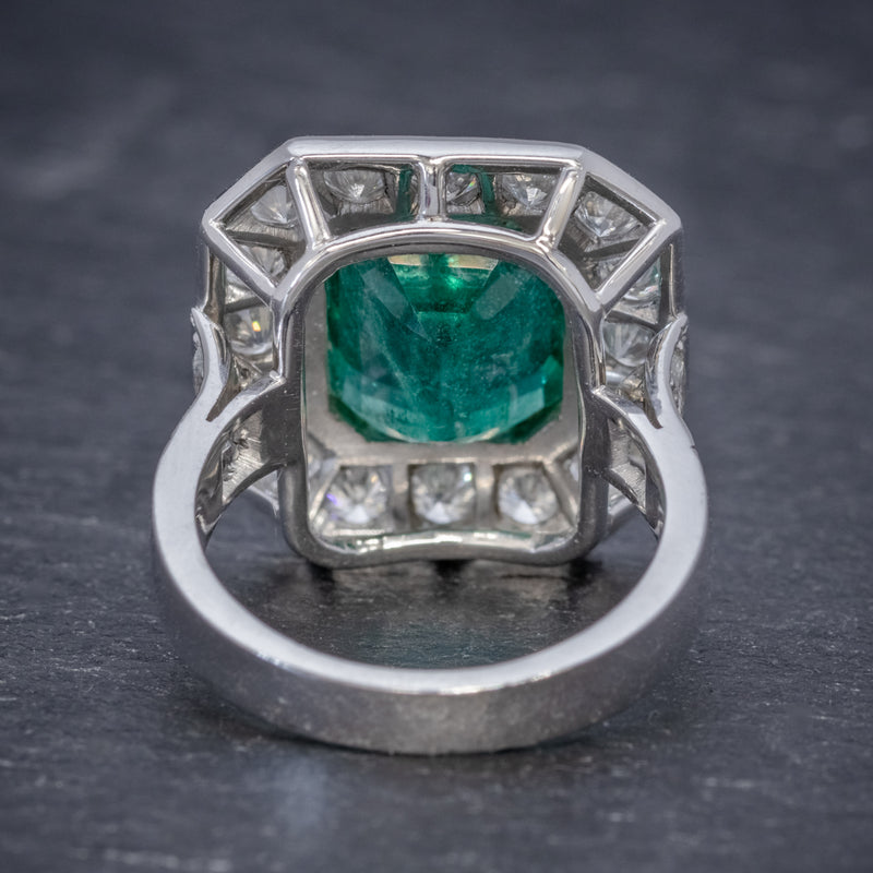 ART DECO EMERALD DIAMOND RING 5.20CT EMERALD PLATINUM RING CIRCA 1920 BACK