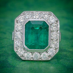 ART DECO EMERALD DIAMOND RING 5.20CT EMERALD PLATINUM RING CIRCA 1920 COVER
