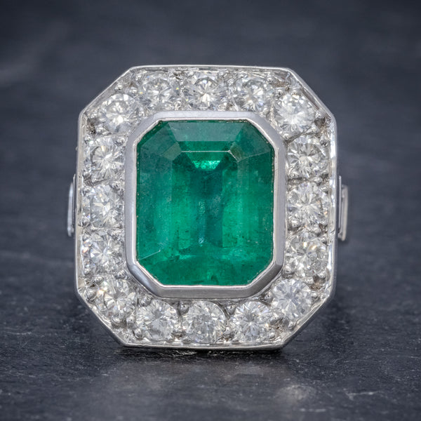 ART DECO EMERALD DIAMOND RING 5.20CT EMERALD PLATINUM RING CIRCA 1920 FRONT