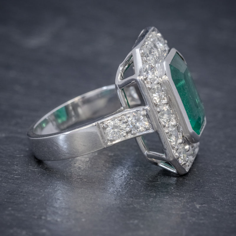 ART DECO EMERALD DIAMOND RING 5.20CT EMERALD PLATINUM RING CIRCA 1920 SIDE2