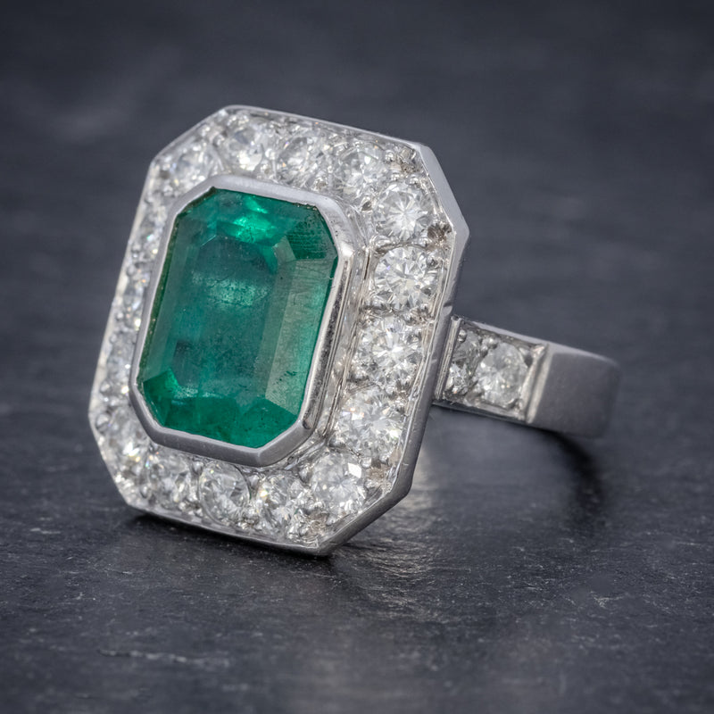 ART DECO EMERALD DIAMOND RING 5.20CT EMERALD PLATINUM RING CIRCA 1920 SIDE