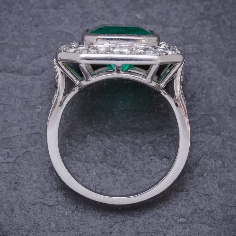 ART DECO EMERALD DIAMOND RING 5.20CT EMERALD PLATINUM RING CIRCA 1920 TOP