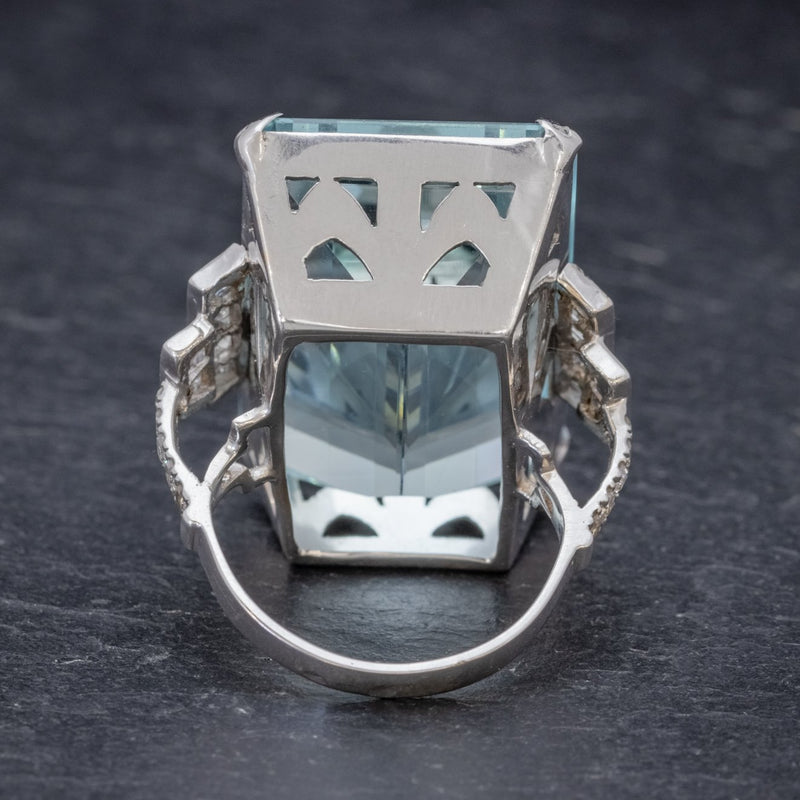Art Deco French 56ct Aquamarine Diamond Ring Platinum Circa 1930 BACK