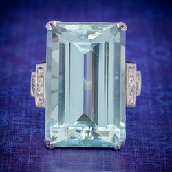Art Deco French 56ct Aquamarine Diamond Ring Platinum Circa 1930 COVER