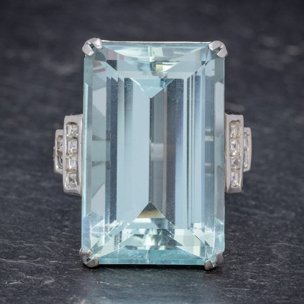 Art Deco French 56ct Aquamarine Diamond Ring Platinum Circa 1930 FRONT