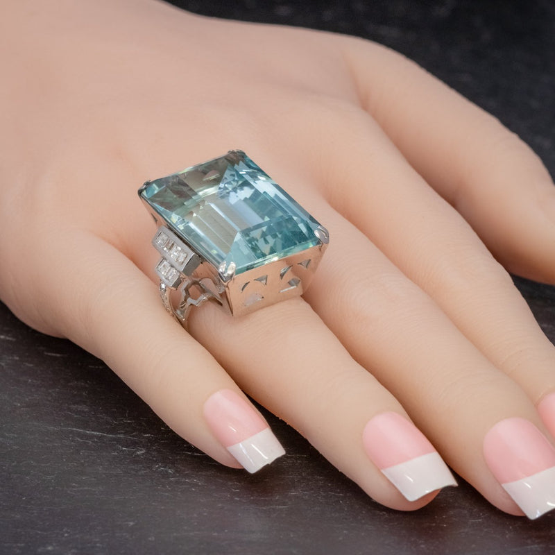 Art Deco French 56ct Aquamarine Diamond Ring Platinum Circa 1930 HAND2