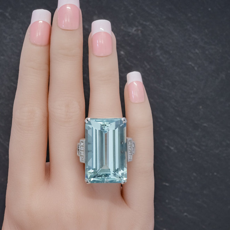 Art Deco French 56ct Aquamarine Diamond Ring Platinum Circa 1930 HAND