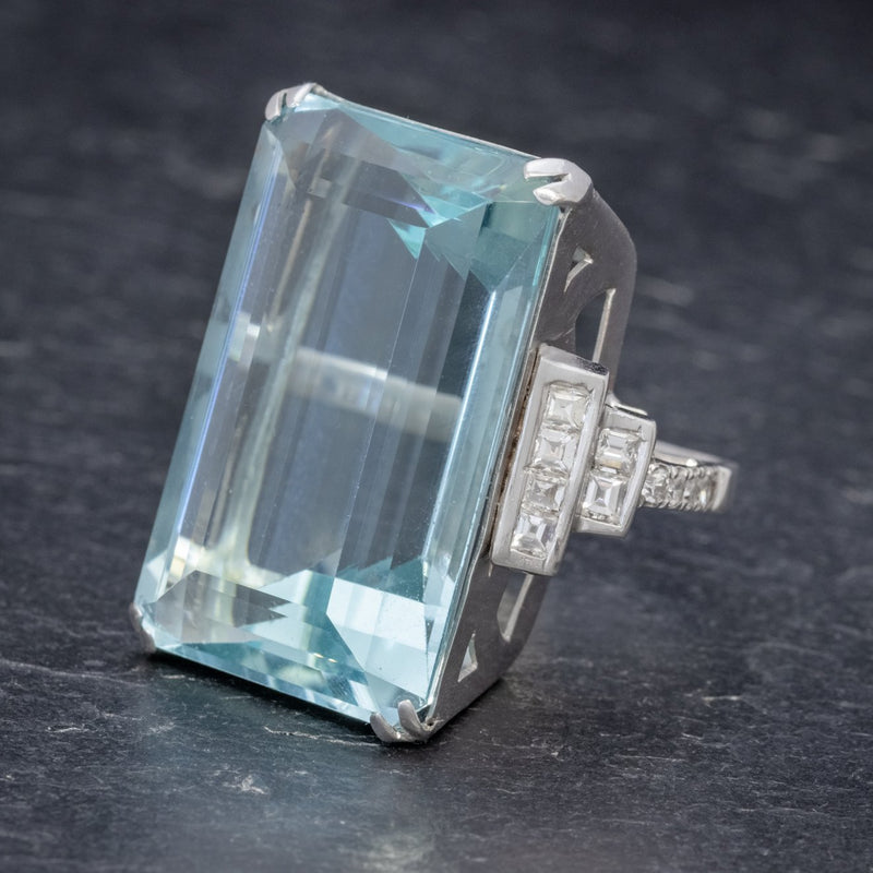 Art Deco French 56ct Aquamarine Diamond Ring Platinum Circa 1930 SIDE