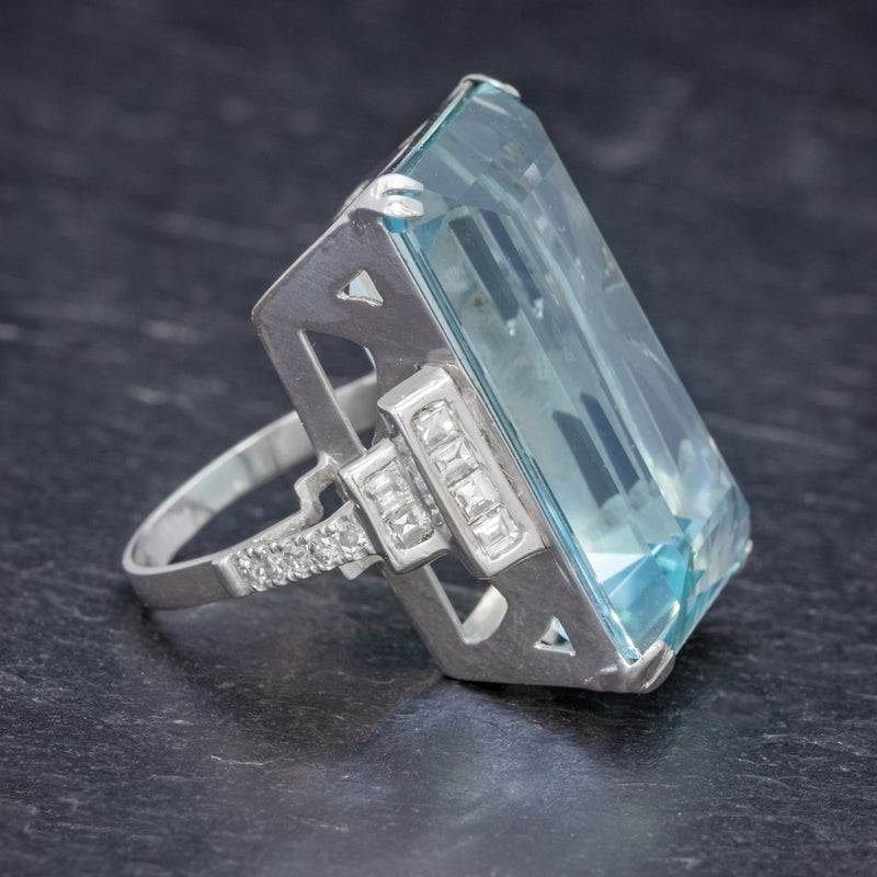 Art Deco French 56ct Aquamarine Diamond Ring Platinum Circa 1930 SIDE2