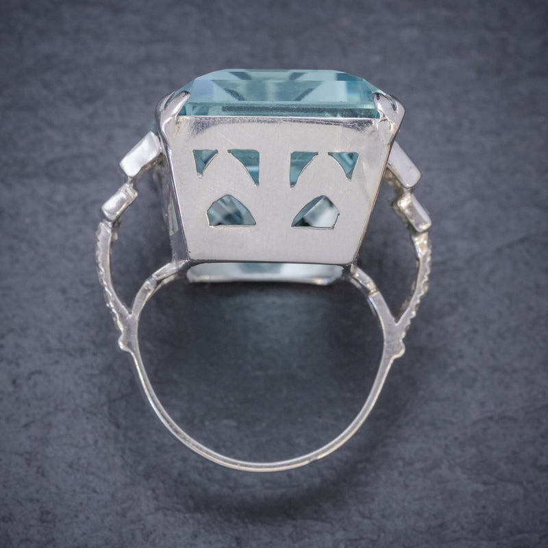 Art Deco French 56ct Aquamarine Diamond Ring Platinum Circa 1930 TOP