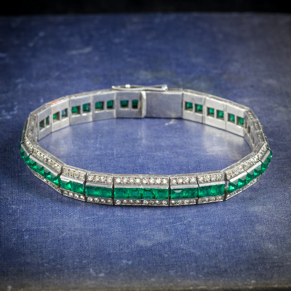 Art Deco French Silver Bracelet White Green Paste Stones Circa 1920