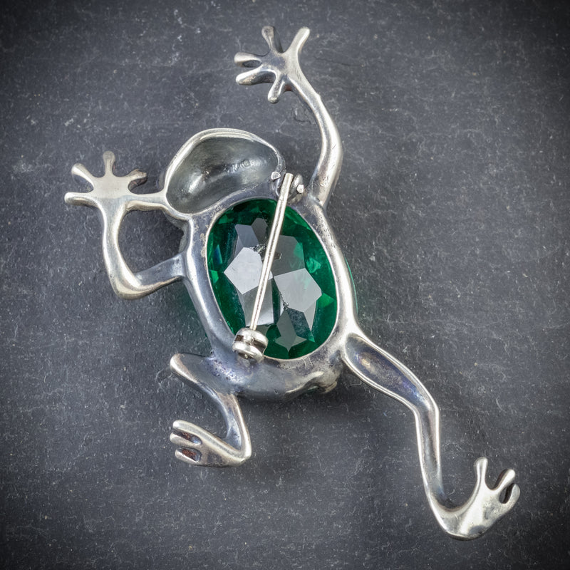 ART DECO FROG BROOCH GREEN GLASS SILVER CIRCA 1920 BACK