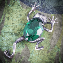 ART DECO FROG BROOCH GREEN GLASS SILVER CIRCA 1920 COVER