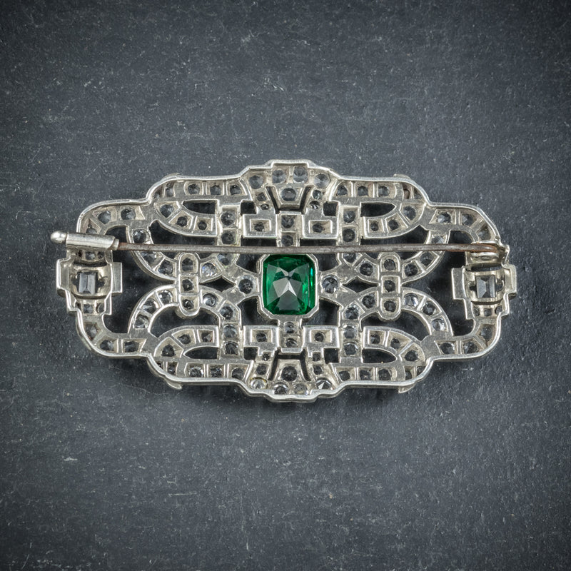 Art Deco Green Paste Brooch Silver Circa 1920 BACK
